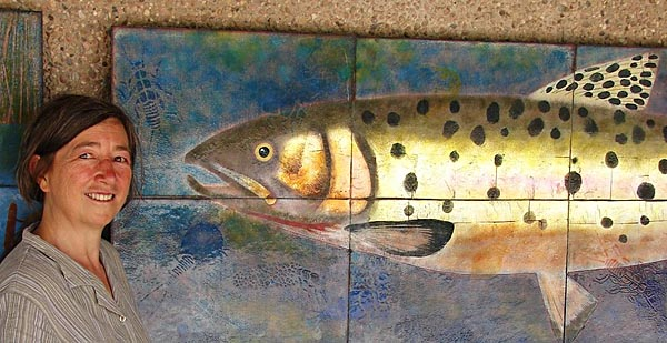 The Artist With Greenback Cutthroat Trout, Marvelous Reality Mural